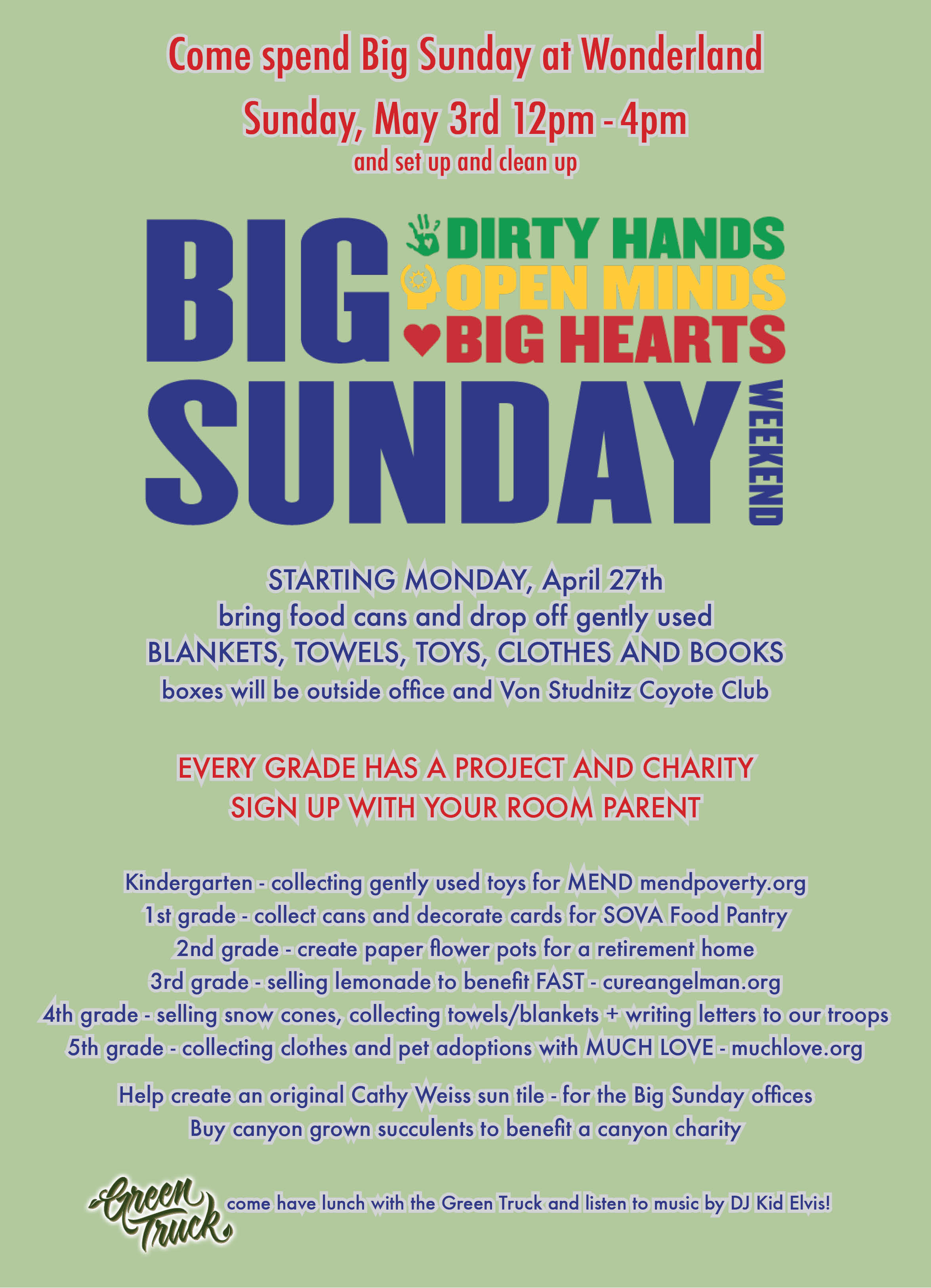 sunday get your hands dirty much love in laurel canyon big sunday school flyer 2015